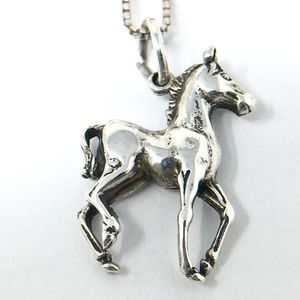 Sterling Silver Trotting Horse Charm and Chain